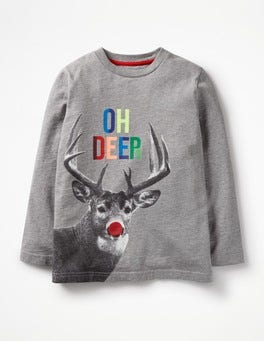 Grey Marl Deer Festive T-Shirt