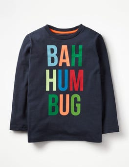 Navy Bah Humbug Festive T-Shirt