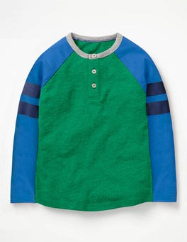 Watercress Green/Skipper Blue Sporty Stripe Raglan Henley