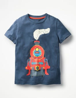 Beacon Blue Train Classic Printed T-Shirt