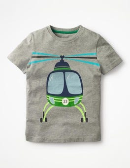 Grey Marl Helicopter Classic Printed T-Shirt