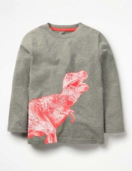 Grey Marl Dino Illustrative Print T-shirt