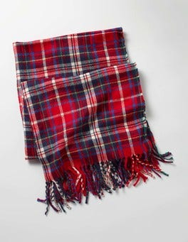Red Check Woven Scarf