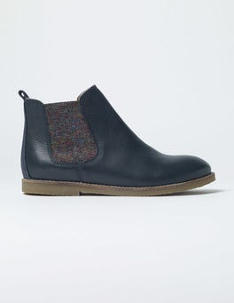 Navy Leather Chelsea Boots