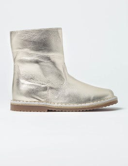 Light Gold Short Leather Boots