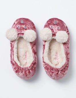 Vintage Pink Velvet Bear Slippers