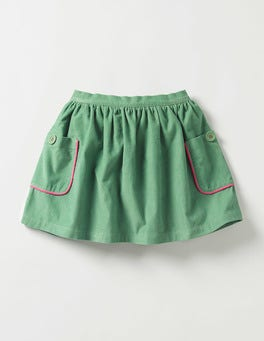 Csarite Green Pocket Cord Skirt
