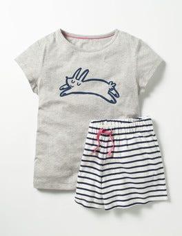 Grey Marl Bunny Shortie Pyjama Set