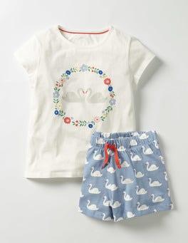 Ivory Swan Shortie Pyjama Set