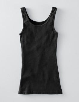 Black Slim Rib Vest