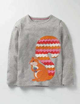 Grey Marl Squirrel Big Appliqué T-shirt