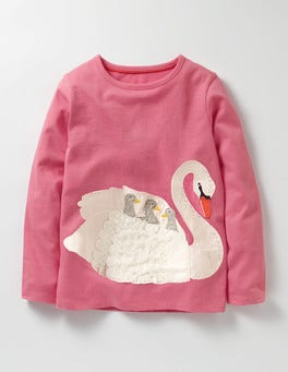 Soft Plum Blossom Swan Big Appliqué T-shirt
