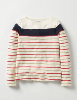 Navy/Gold Sparkly Striped T-shirt