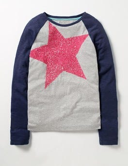Grey Marl Pink Star Pretty Sequin T-shirt