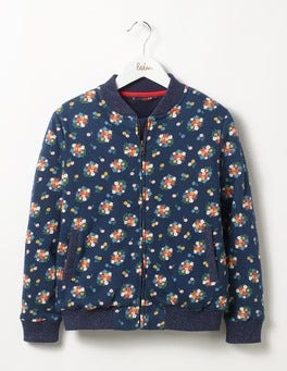 Navy Flower Bunch Floral Bomber Jacket