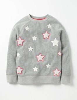 Grey Marl Stars Star Bouclé Sweatshirt