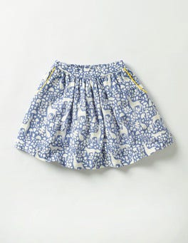 Washed Bluebell Blue Woodland Twirly Printed Skirt