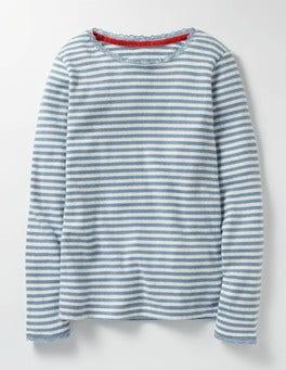 Wren Blue/Ecru Supersoft Pointelle T-shirt