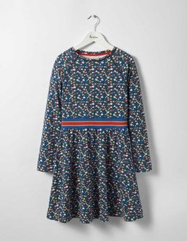Navy Ditsy Folk Floral Jersey Baseball Dress