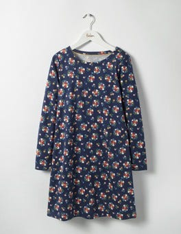 Navy Flower Bunch Printed Jersey Dress