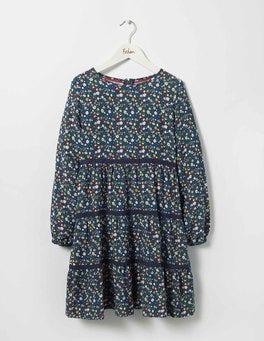 Navy Folk Floral Flowery Lace Dress