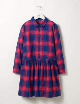 Blue/Pink Check Shirt Dress