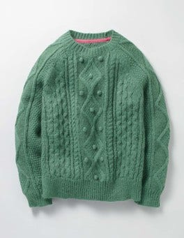 Csarite Green Cable Sweater