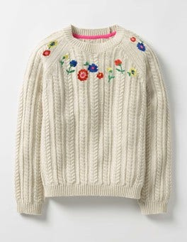 Ecru Marl Embroidered Cable Jumper