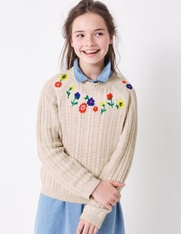 Embroidered Cable Jumper