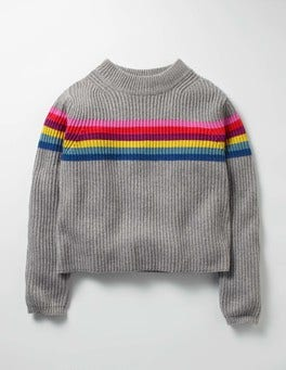 Grey Marl Rainbow Stripy Boxy Jumper