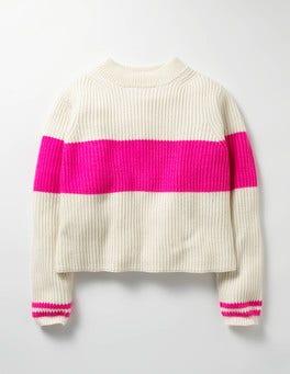 Ecru Marl Stripy Boxy Sweater