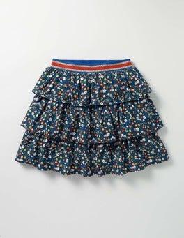 Navy Ditsy Folk Floral Printed Ruffle Skirt