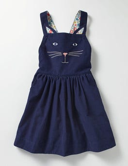 School Navy Cat Animal Dungaree Dress
