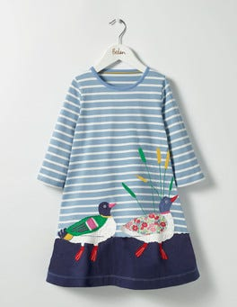 Wren Blue Ducks Woodland Friends Dress
