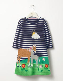 School Navy Horses Woodland Friends Dress