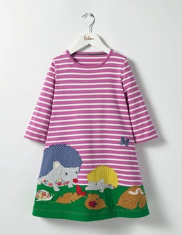Plum Blossom Pink Hedgehogs Woodland Friends Dress