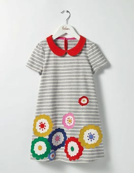 Grey Marl/Ecru Flowers Fun Appliqué Jersey Dress
