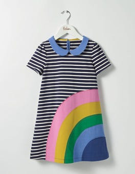 School Navy/Ecru Rainbow Fun Appliqué Jersey Dress