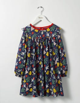 Dark Blue Lovebirds Frill Jersey Dress