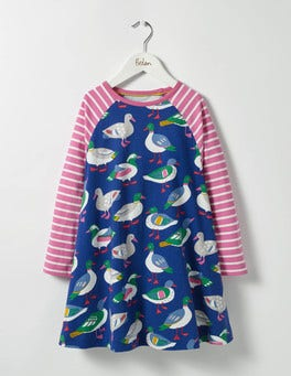 Dark Blue Rainbow Ducks Jersey Swing Dress