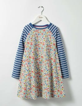 Multi Mini Folk Floral Jersey Swing Dress