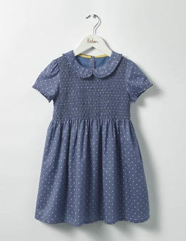 English China Blue Pin Spot Pretty Smock Dress