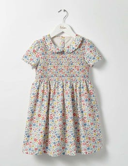 Multi Mini Folk Floral Pretty Smock Dress
