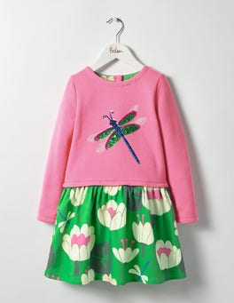 Plum Blossom Pink Lily Pad Sequin Appliqué Dress