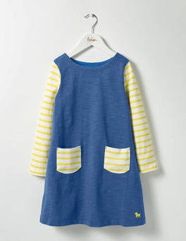 Washed Bluebell Blue Stripy Jersey Dress