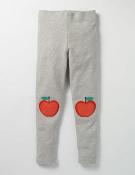 Grey Marl Apple Appliqué Leggings