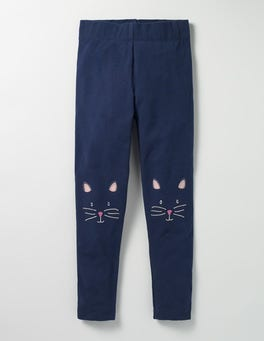 School Navy Cat Appliqué Leggings