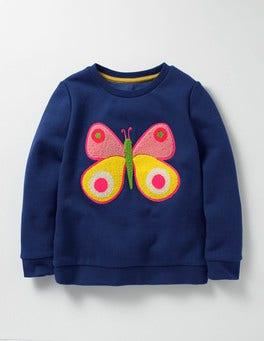Dark Blue Butterfly Cosy Bouclé Sweatshirt
