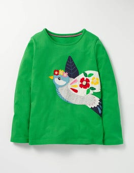 Iguana Green Bird Felt Appliqué T-shirt