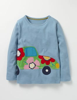 Wren Blue Car Felt Appliqué T-shirt